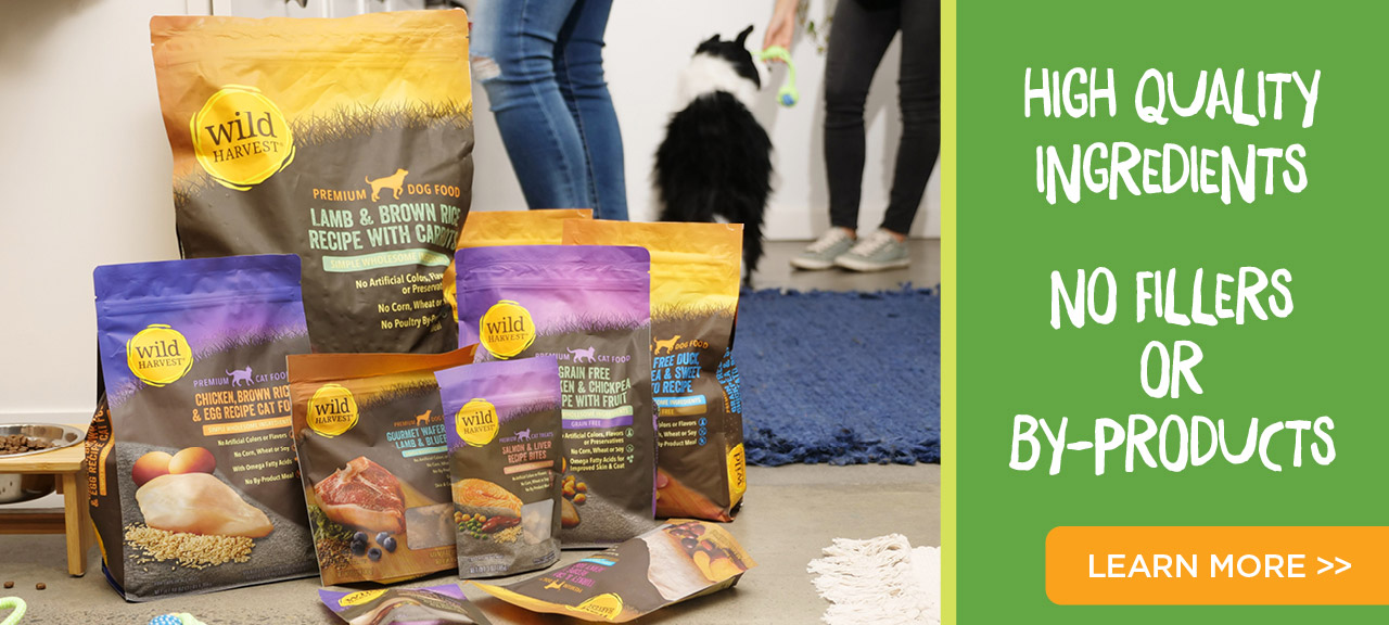 Wild Harvest pet food and treats product collection. High quality ingredients, and no fillers or by-products. Learn more about our Pet Foods and Treats here.