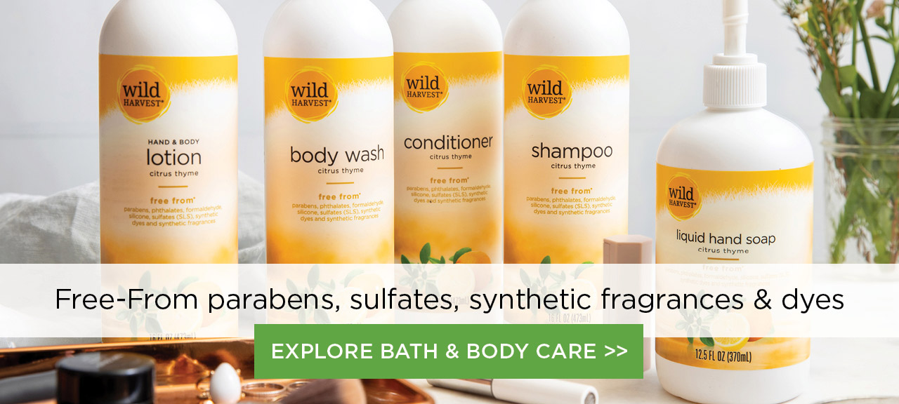 Wild Harvest lotion, body wash, conditioner and shampoo product collection image. Free-from parabens, sulfates, synthetic fragrances and dyes. Explore Wild Harvest Bath and Body Care here.